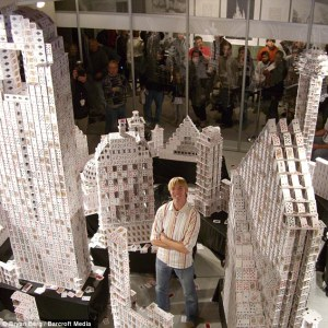 Bryan Berg's recreation of the Dallas skyline used 1,060 decks of cards.