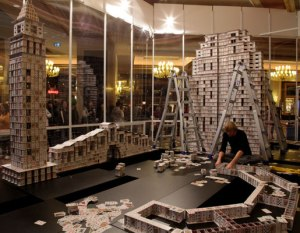 Berg was commissioned to break his own record at The Venetian Macao Resort Hotel, the largest casino in the world. The project took 44 days, 219,000 cards, and set a new Guinness World Record.