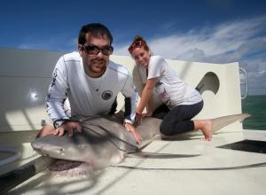 David Shiffman, 27, poses with a lemon shark in the Everglades National Park.