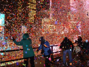 In Times Square, a hub of all the latest LED screens, the New Year's confetti process is very rudimentary by comparison.