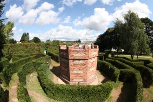 The maze tower from atop an adjacent ladder.