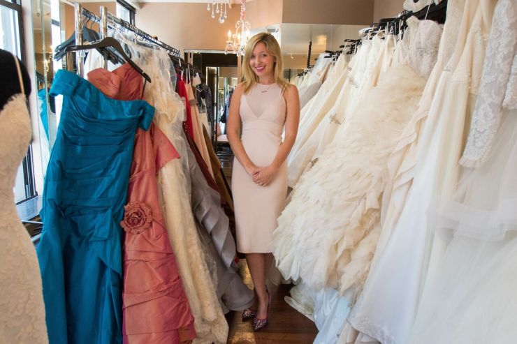 Jen Glantz at a wedding dress store.
