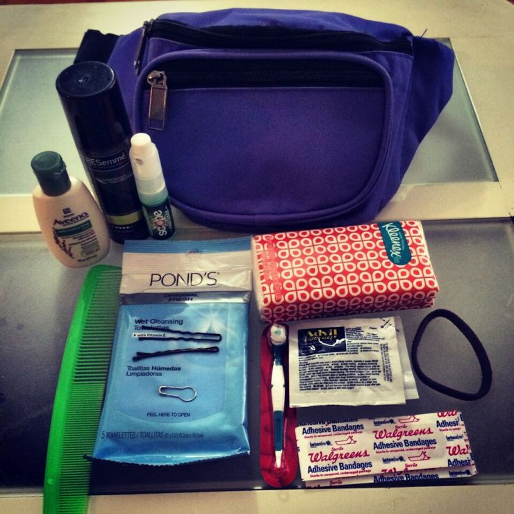 Glantz's fanny pack survival kit, which she brings to every wedding.