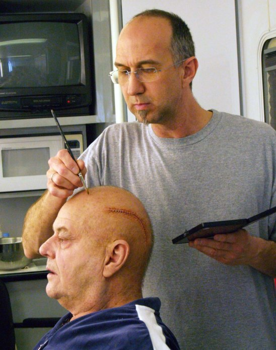 When Mungle sees a scary movie, he tries to immerse himself in that fantasy, rather than critiquing the makeup. Here, he does Jack Nicholson's makeup for The Bucket List.
